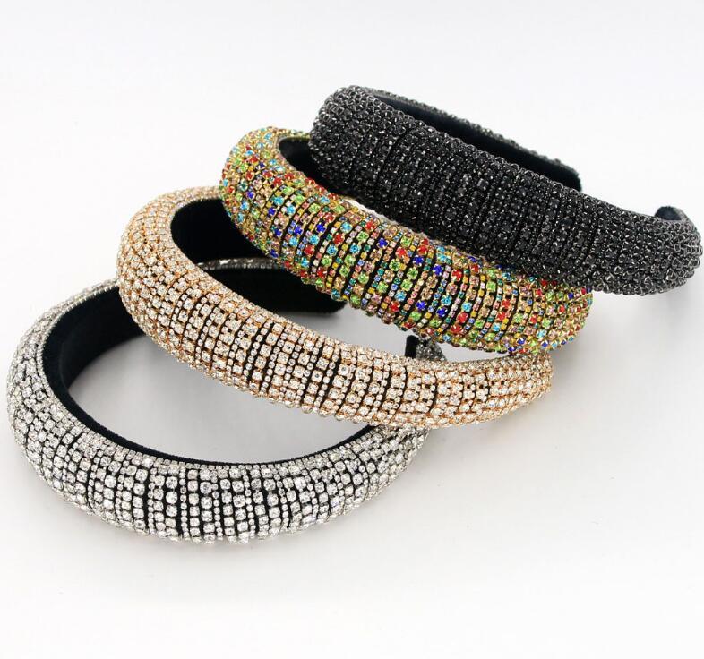 Bande New Baroque cristallo pieno fasce dei capelli per i gioielli donne spose lucido imbottito diamante della fascia dei capelli del partito di modo del cerchio Accessori
