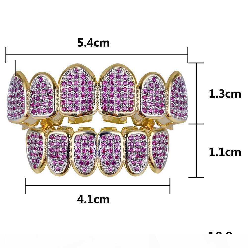 جديد مخصص صالح الهيب هوب الذهب الأسنان GRILLZ قبعات مايكرو تمهيد الفوشيه مكعب زركونيا الأعلى أسفل الشوايات مجموعة لهدايا عيد الميلاد النساء