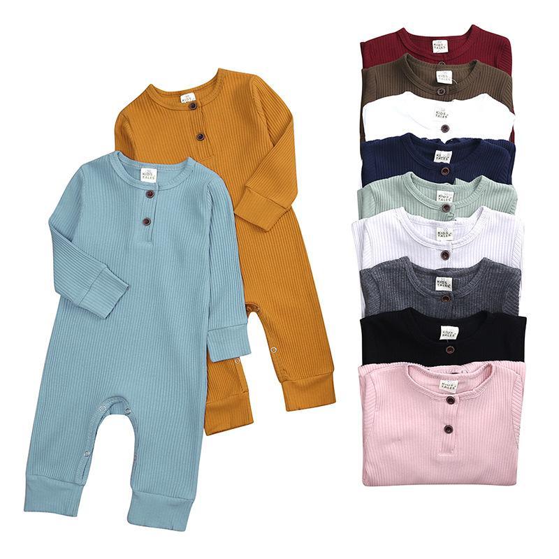 Baby Boys Girls Born Romper Комбинеры с кнопкой Одежда с длинным рукавом Осенняя Одежда 11 Цветов