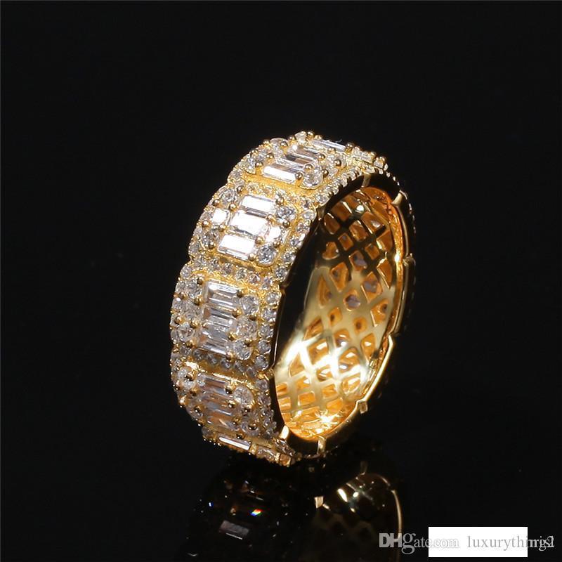 Diseño de lujo los anillos de dedo hacia fuera helado CZ Anillos para hombre de plata con baño de oro de Bling Bling joyería de Hip Hop