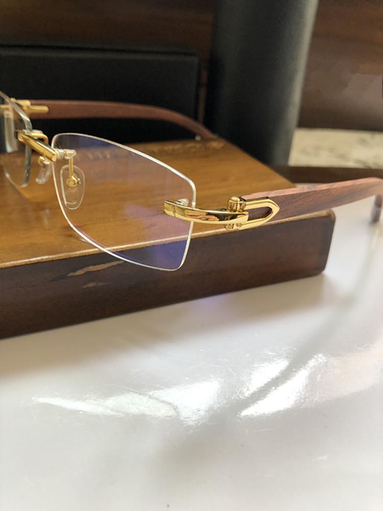 2020 LUXURY CT3524012 جودة بدون شفة النظارات البصرية خشبية إطار 54-18-135 بدون شفة الكلاسيكية لوصفة طبية نظارات fullset منفذ حالة