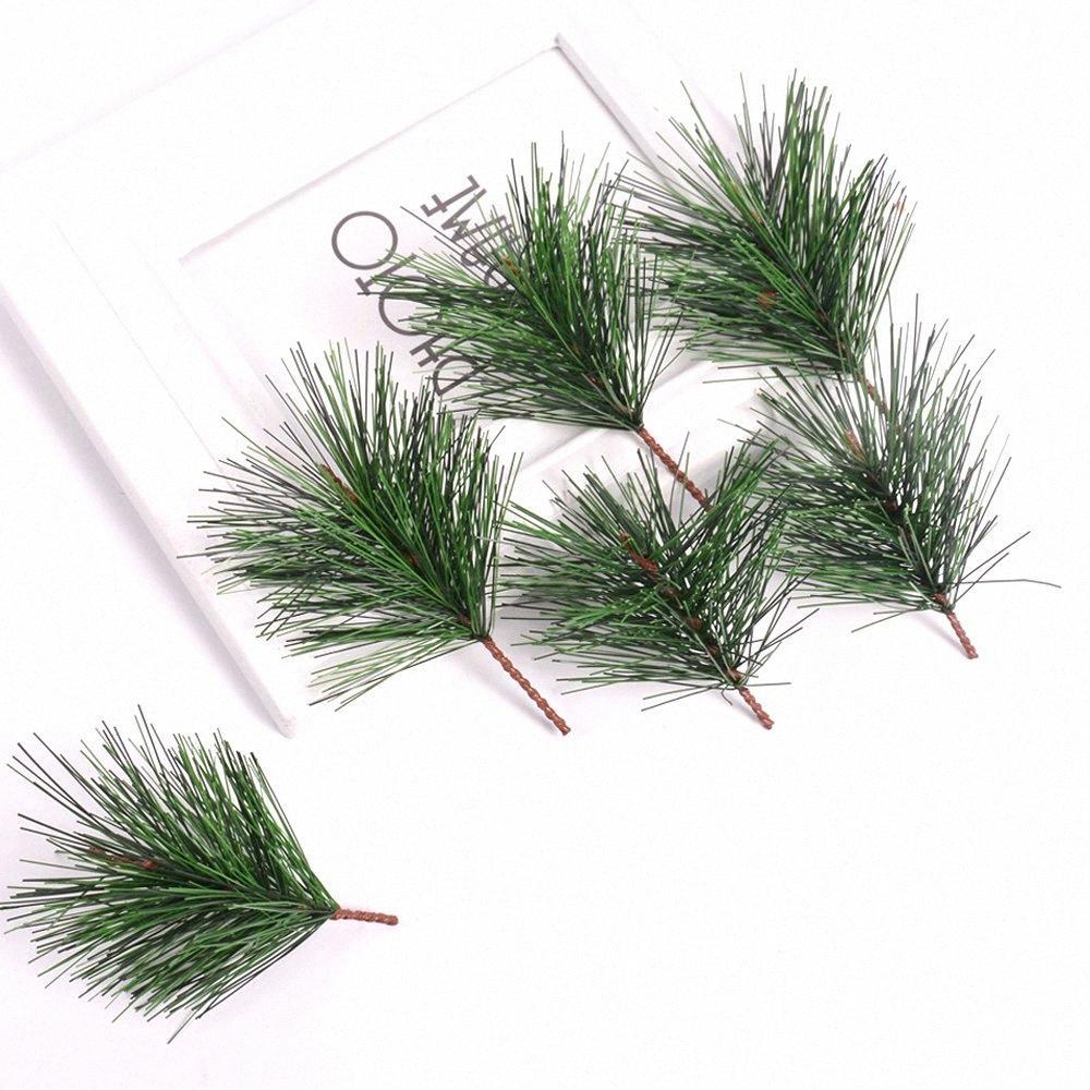 5pcs / lot de fleurs artificielles Pin Aiguille pour sapin de Noël Décoration Plantes Faux Branche bricolage main de Noël Décor Accessoires ClMo #