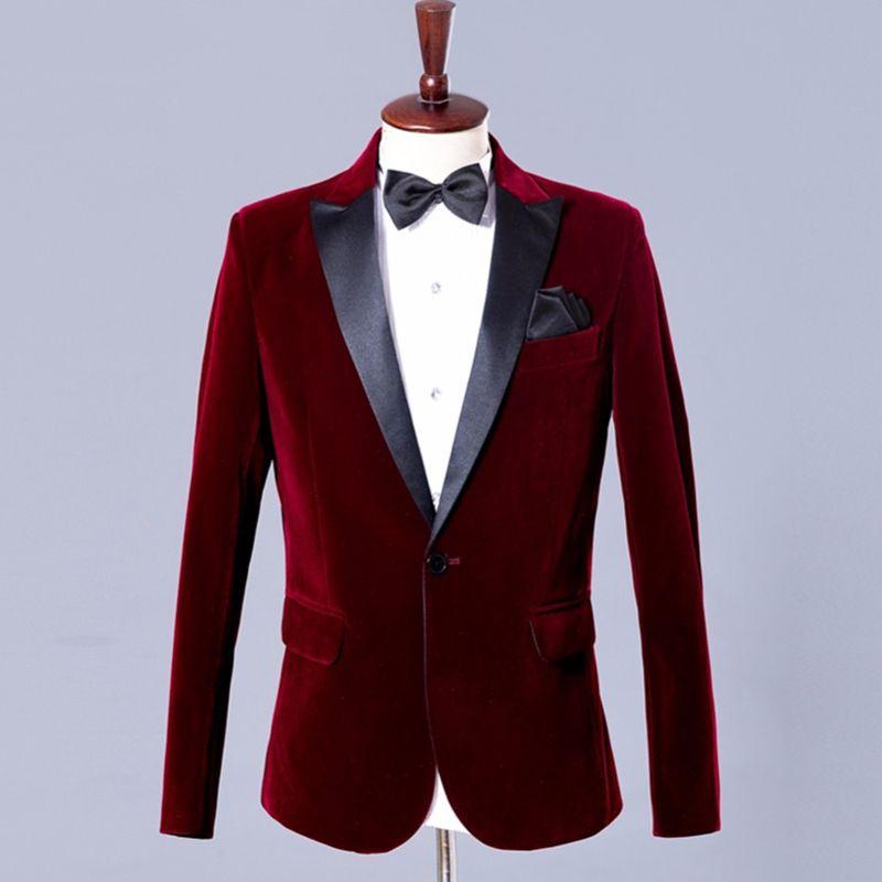 Black ile Erkekler için Burgonya Kadife Blazer Düğün Balo Coat Moda Giyim için Yaka Tek Tek Parça Adam Suit ceket Peaked