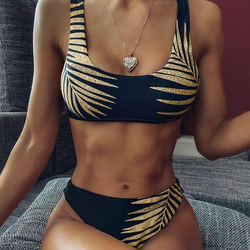2020 Yüksek Bel Bikini Mayo Kadınlar Seksi Baskı Bikini Siyah biquini Yaprak Leopar Bikini Brezilyalı Mikro Mayo Kadınlar yazdır