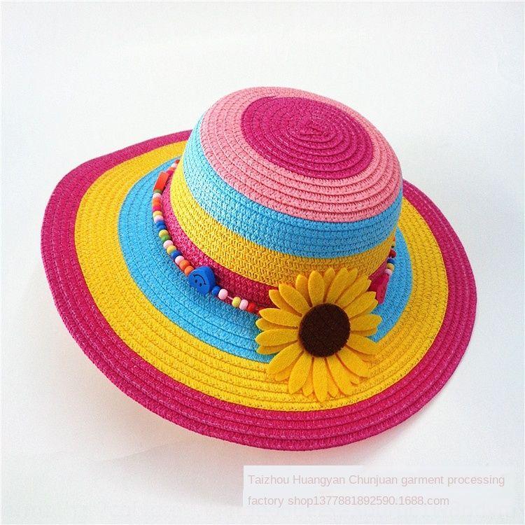 Yeni Straw güneş çocuk moda şık güneş çiçek hasır şapka çocuk şemsiye şapka