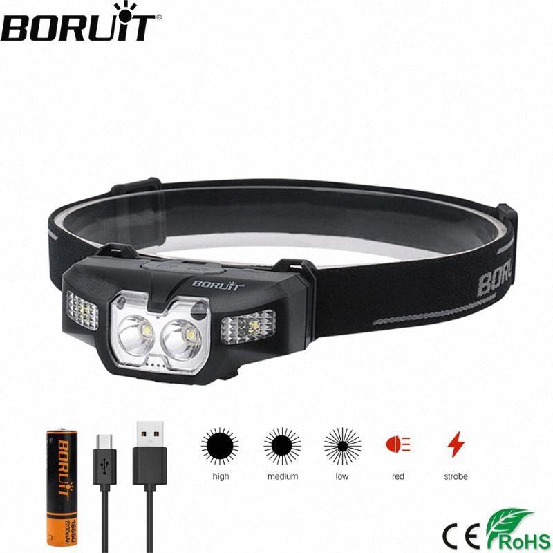 BORUiT B30 LED IR Motion Sensor Mini Headlamp 2 * XP G2 + 2 * 3030 Red 5 Mode Headlight Rechargeable Head Torch Hunting Light dT7s#