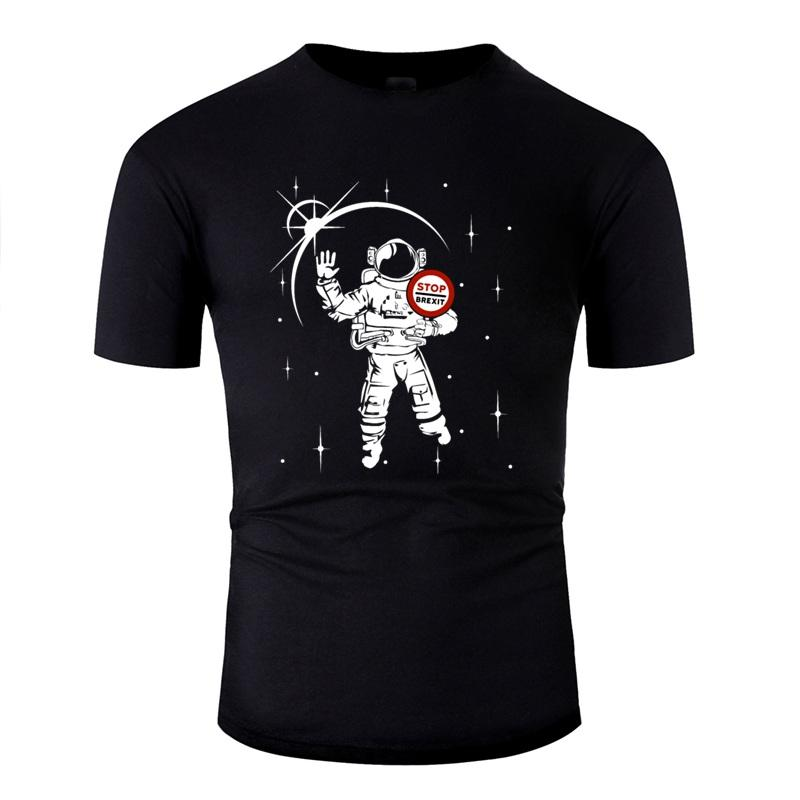 Brexit Stop! Stop Brexit! Anti Brexit Astronaut Lässige T-Shirt Mann-Ausstattungs-Fitness-Erwachsen-T-Shirt Weiß Kleidung 2019