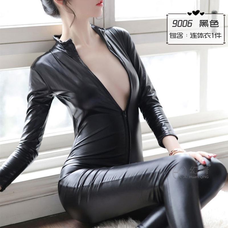 Fantasy biancheria intima sexy pantaloni femminili in pelle Biancheria intima salto di brevetto congiunta cavallo aperto tuta vuota vestito sexy tentazione uniforme