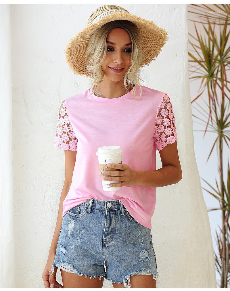 Manga corta de las mujeres ocasionales de la camiseta ahueca hacia fuera atractivo color sólido tapas de las mujeres de moda de verano todas correspondan Ropa para la mujer