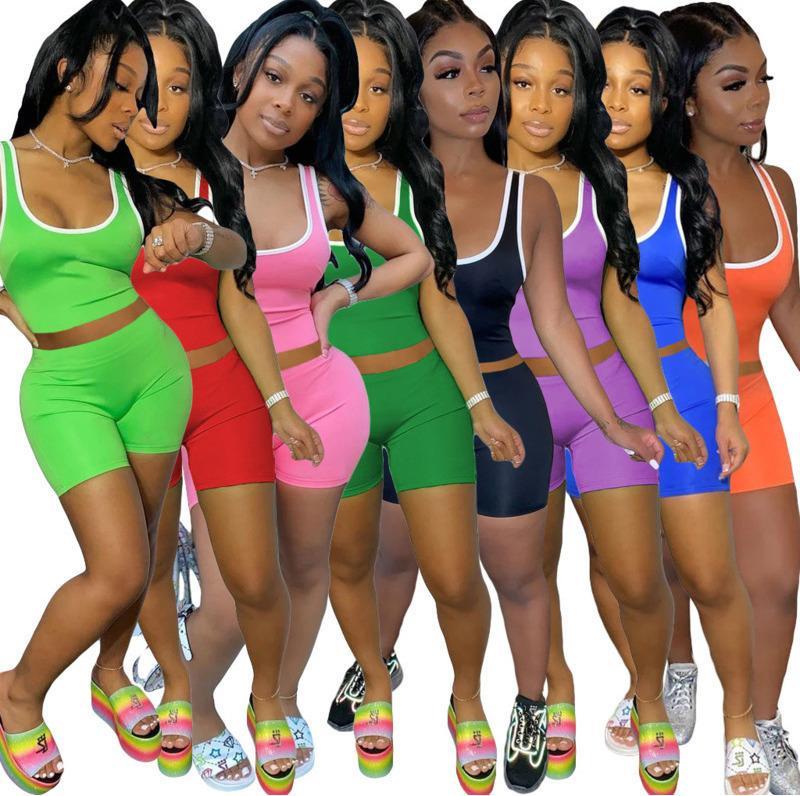 лето рынка буксирных штук набора сплошного цвета сексуального жилет шорты костюм WOMENS 2 шт коротких наборов плюс размера женщин одежды S-XXL LY185