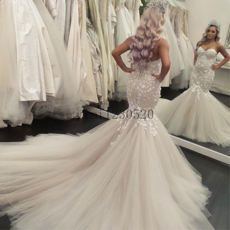 Champagne Mermaid Wedding Dresses Sweet Heart Backless Sweep Train Lace Appliques Bridal Gowns robes de mariée vestidos de novia
