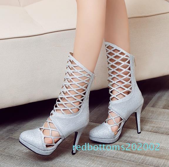 Gran pequeño tamaño de 32 33 a 40 41 42 43 rojos negros huecos fuera del tacón alto r02 tacones de diseñador talones zapatos del club de las mujeres atractivas del partido de botín de tobillo de lujo