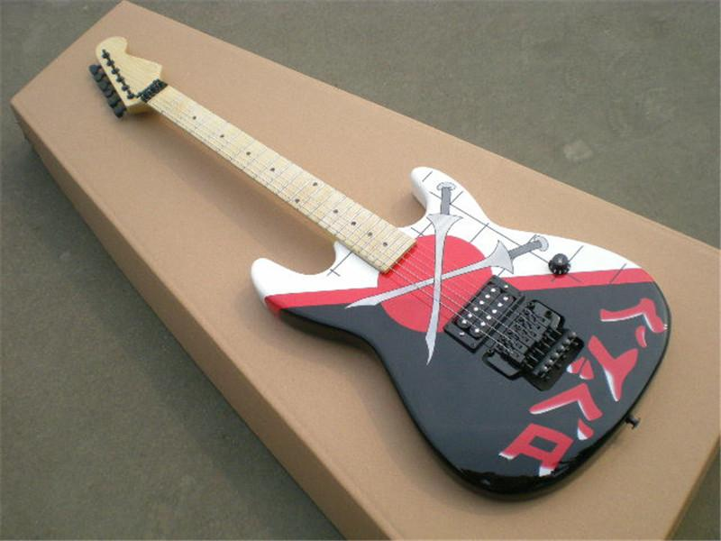 Factory Custom Personalized printing pattern Electric Guitar with Black Hardware ,Maple neck,Basswood body,offer customized
