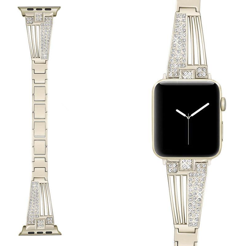 Apple watch third generation and fourth generation stainless steel metal watch with diamond band and Iwatch alloy watch band