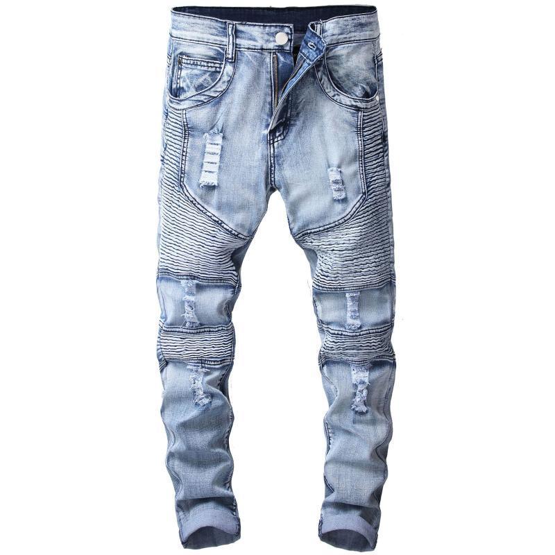 Distressed Ripped Jeans Pleated Motorcycle Pants Hole Men's Biker Jeans Fashion Motorcycle Denim Pants Mens Elastic Slim Men Mid
