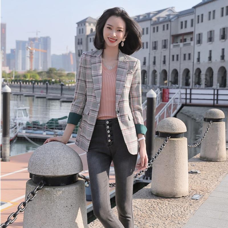 Modo delle signore causale Blazer Donne Giacche Cappotti manica lunga Slim Work Clothes Wear Plaid Styles