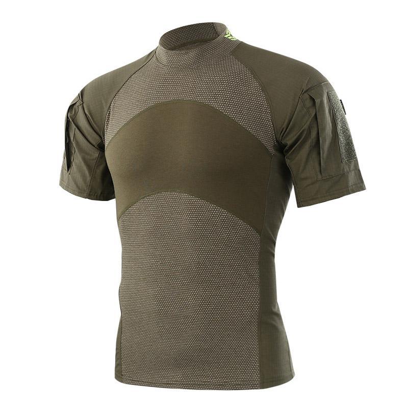 Para hombre verano táctico camiseta del ejército del combate camiseta de manga corta Asalto camuflaje Rip-stop Paintball T-Shirts tamaño asiático