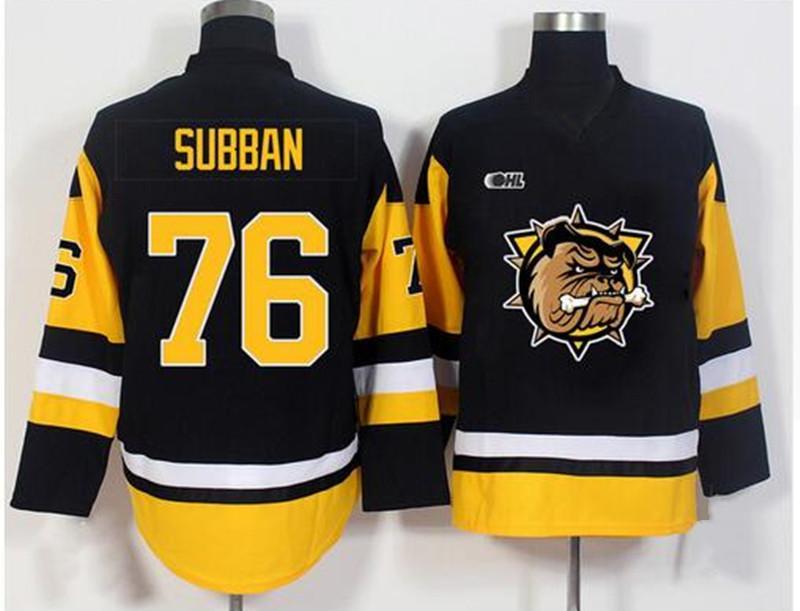 Özel Vintage Jersey OHL Hamilton Bulldoglar # 76 pk Subban Siyah Hokeyi Formalar Dikişli Herhangi Ad Your Number Boyut S-6XL