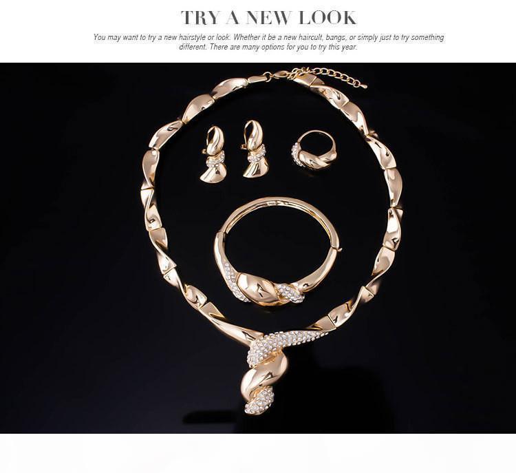 Collana Fashion Party Dubai Jewelry set Costume Sets modo 18K I monili placcati oro di cristallo Donne partito da sposa