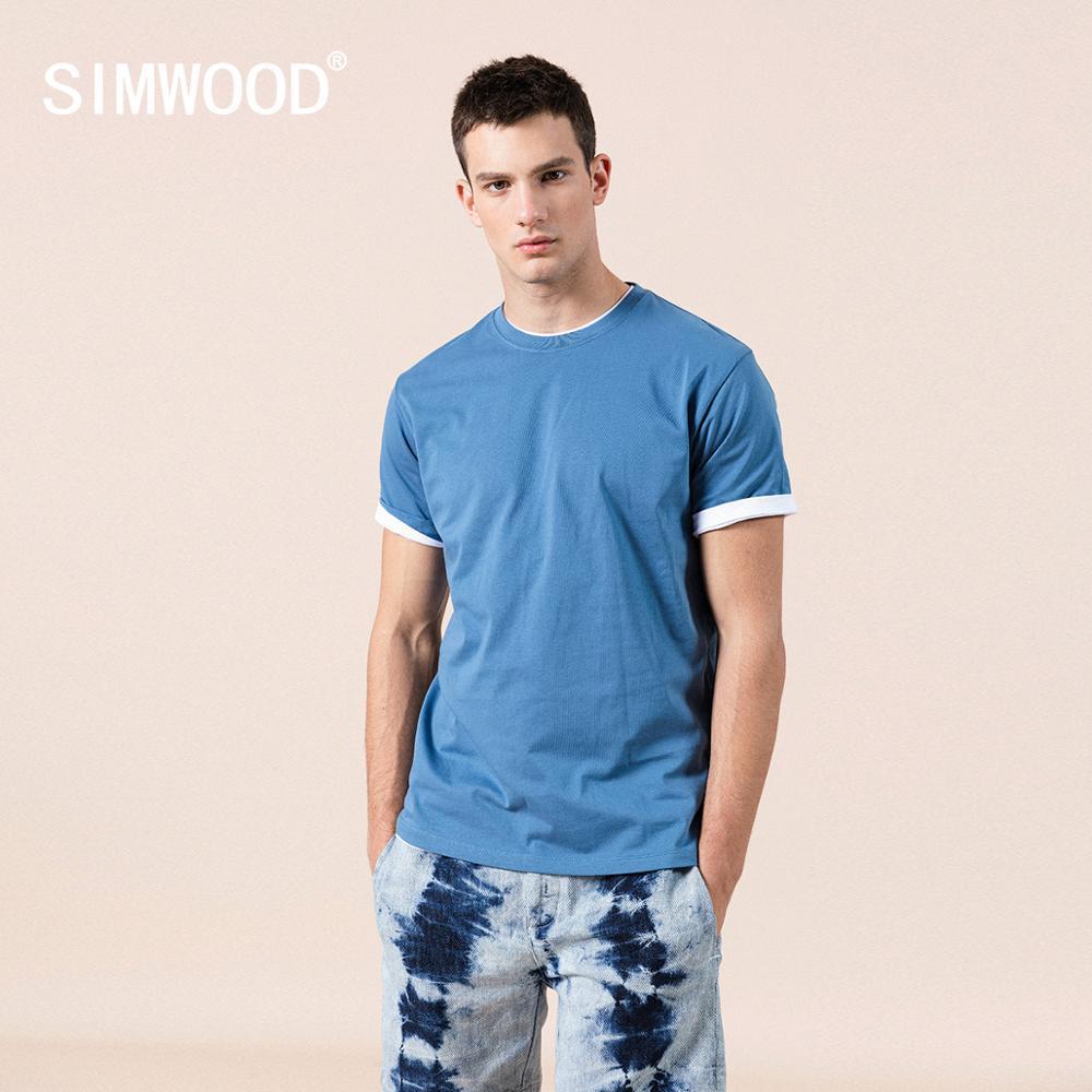 Verano nuevo 100% algodón blanco camiseta sólido hombres causal o-cuello camiseta básica masculina de alta calidad kg-409