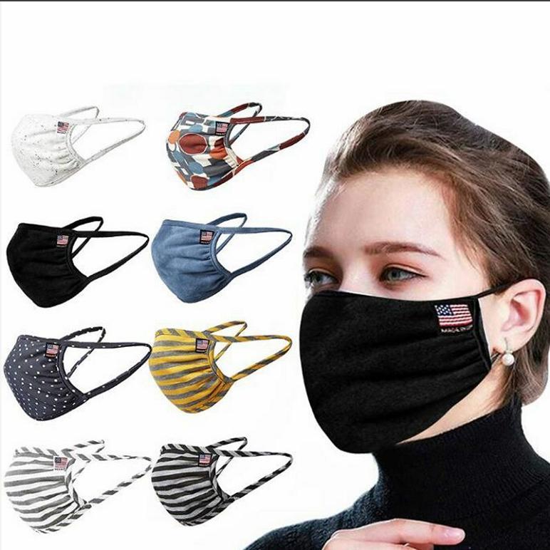 Pamuk Yüz Maskeleri Nefes Maske Maske Koruyucu Erkekler Kadınlar Yüz Ağız Kapak Amerikan Bayrağı Anti Toz Yıkanabilir Kulak Döngü CBY06 Maskesi