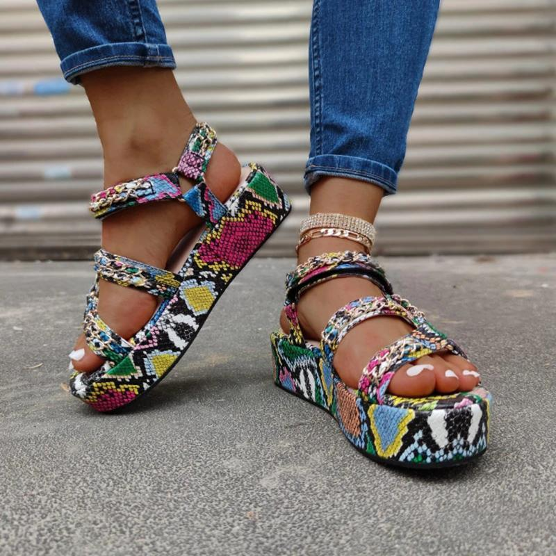 Sandali dei cunei Plus Size signore di estate alti talloni delle donne di moda multicolore Snakeskin Platform Sandals Open Toe Beach Shoes CS10
