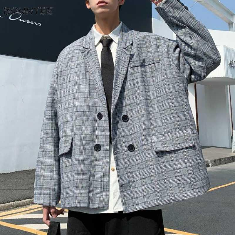 Blazers Uomo Primavera Doppio Petto plaid allentato Retro Teens di svago di modo di stile coreano del Tutto-fiammifero abiti uomo Streetwear Semplice