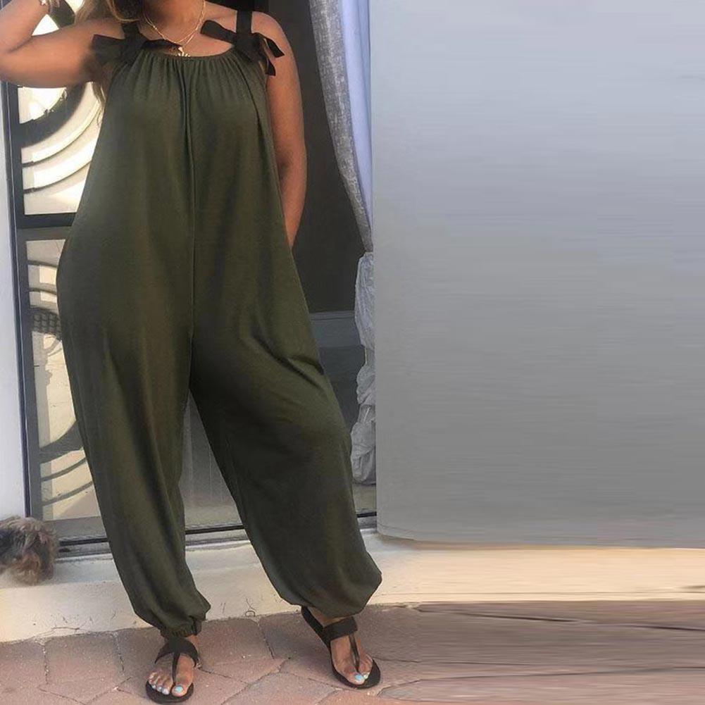 de 2020 New Casual solta Mulheres Sólidos Bow Cor Calças Strap mangas Jumpsuit longas Romper quente Mulheres Bib doce perna larga Romper T200723