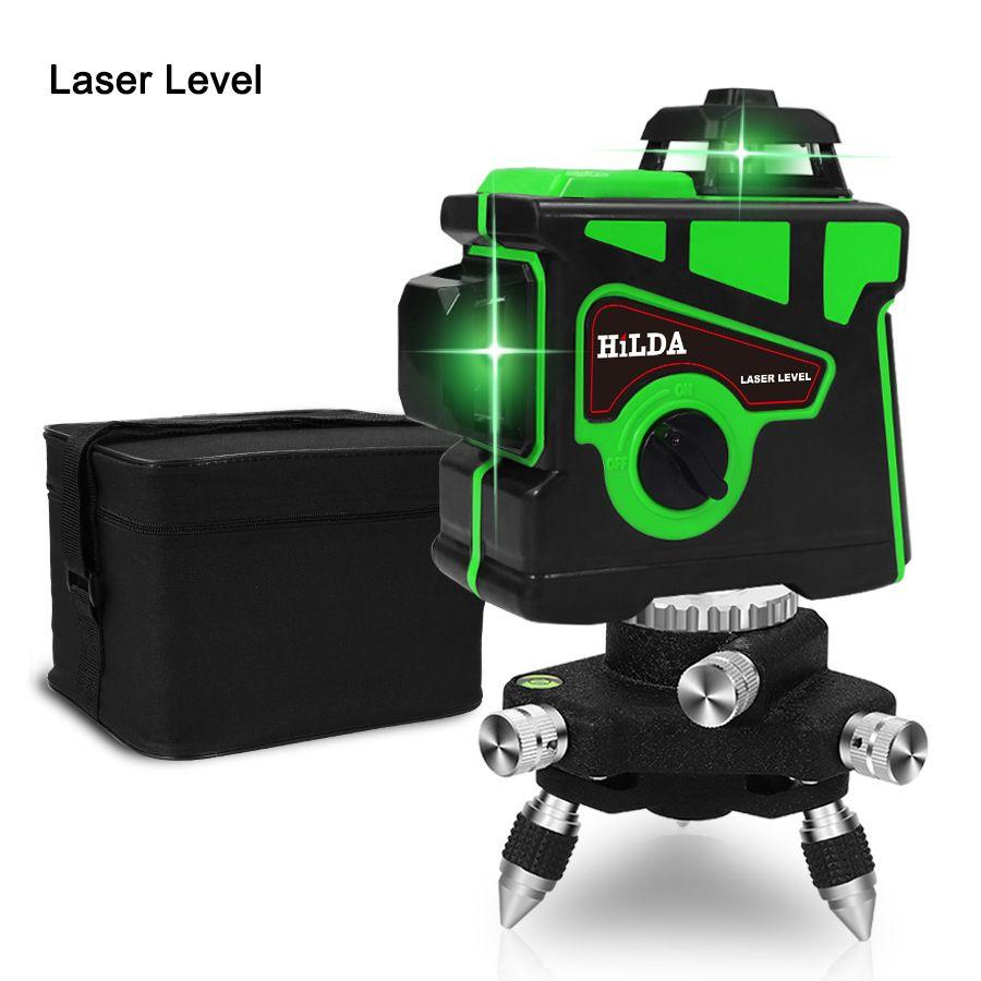 مستوى الليزر 12 خطوط 3D المستوى الذاتي الإستواء 360 الأفقي والرأسي الصليب سوبر الخضراء قوية مستوى الليزر