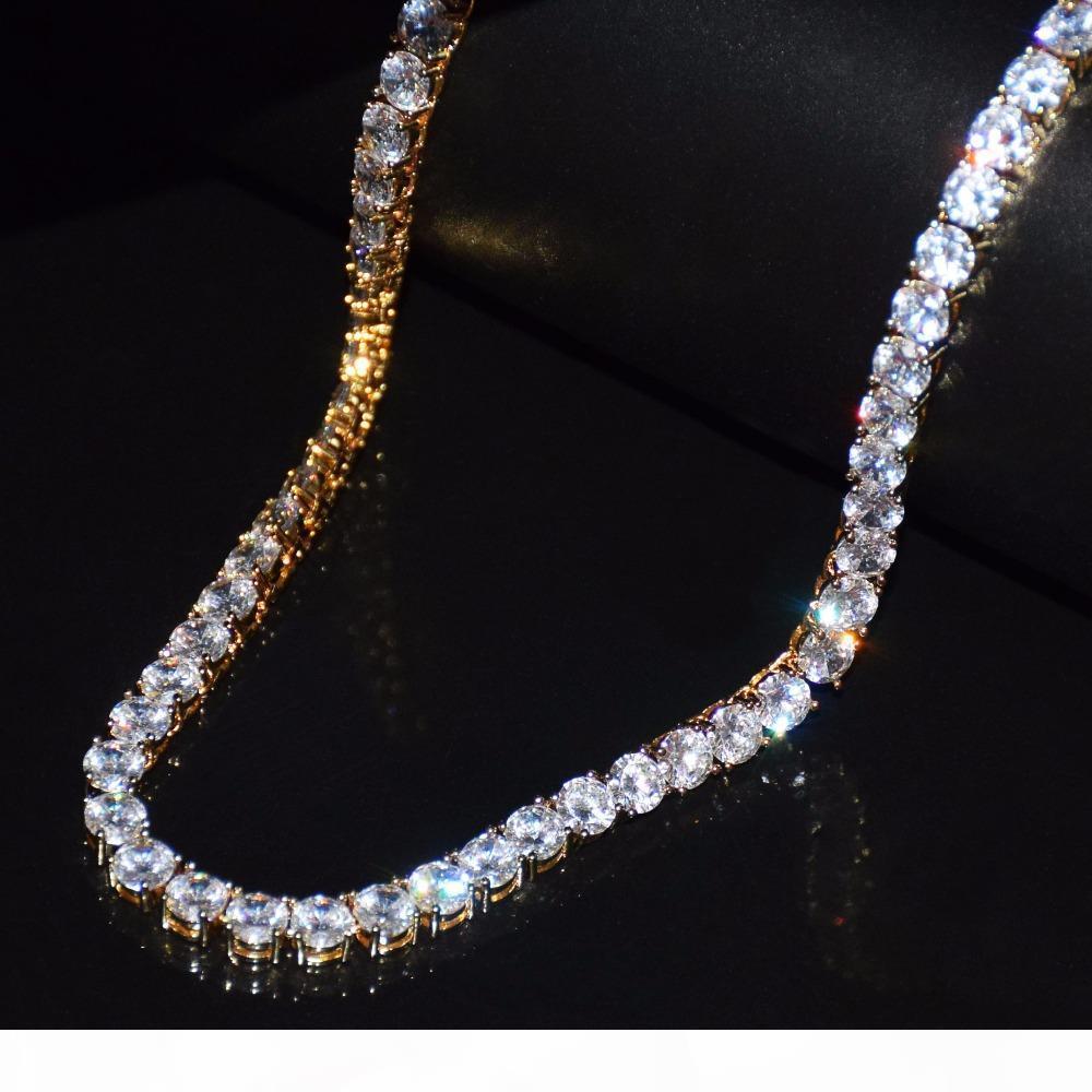 Cadena 3 mm hacia fuera helado circón 1 Fila Tenis de joyería Collar de Hip hop Oro Plata Cobre hombres Material collar Enlace CZ 20 pulgadas