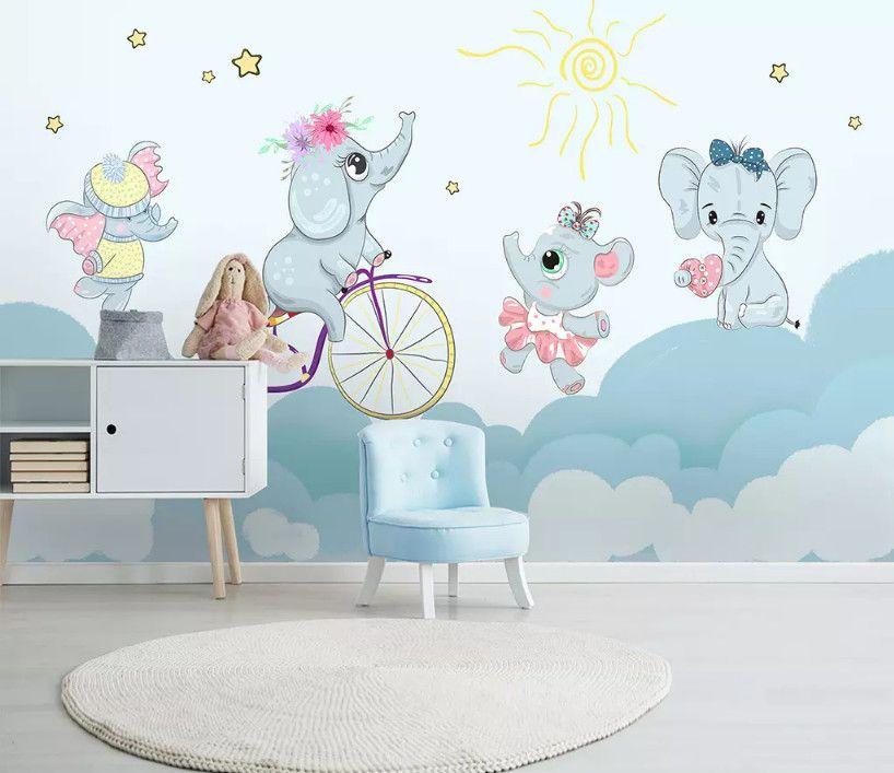 Bacal fondo de pantalla personalizado del sitio del bebé de elefante de dibujos animados lindo hámster andar en bicicleta paredes fondo de la nube niños 3d papel tapiz mural