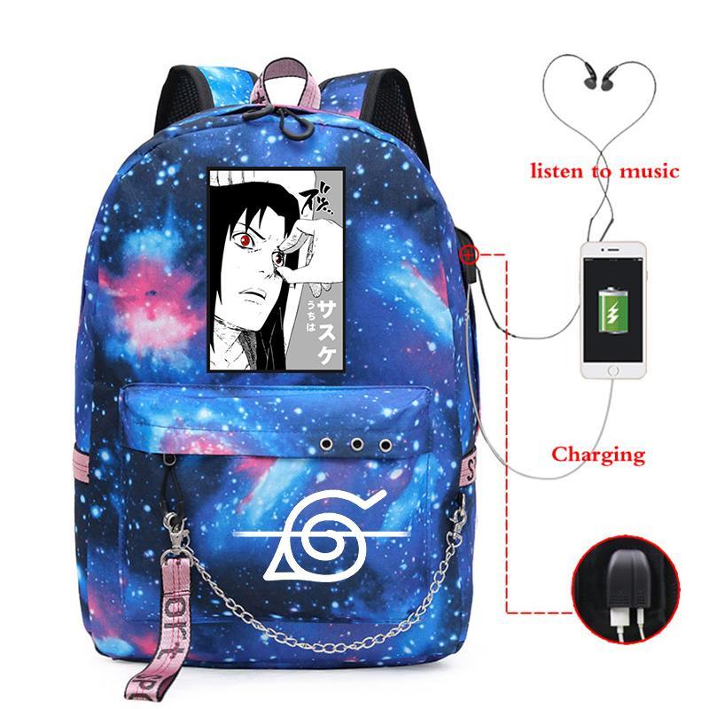 Anime-Laptop-Tasche Naruto Rucksack Akatsuki Itachi Sharingan Schultaschen für Jungen Plecak Szkolny Mädchen Taschen Rosa Reisen Bagpack