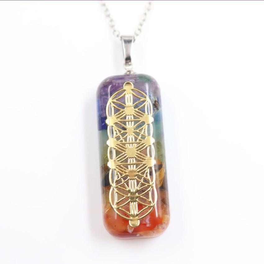 Toptan 10 adet altın kaplama Dikdörtgen Renkli Gökkuşağı Taşı ve Reçine kolye Ruhsal Kolye Orgon Enerji Takı