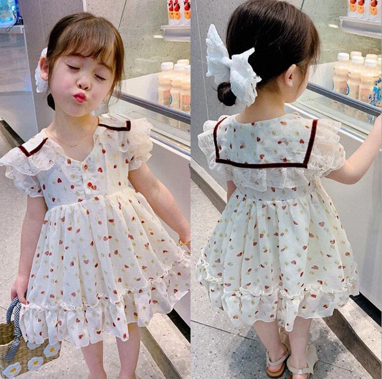 Retail 2020 Summer New Children Love Pattern Lace Chiffon Dresses , Girls Princess Sweet Clothes 2-6T qkzh#