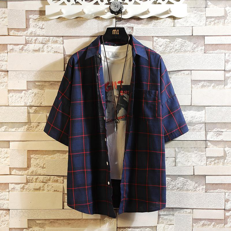 Harajuku Mode-Hemd der Männer karierte Hemden kurze Hülsen-Revers-Ausschnitt Breath Bluse Camisa Masculina Marke Shirts plus Größe M-5XL