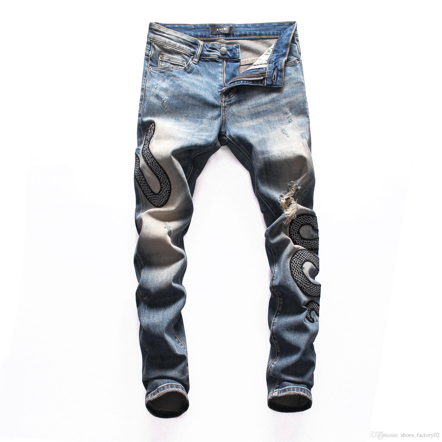 2020 de haute qualité des jeans pour hommes Distressed jeans Motard Roche Maigre mince bande de trou Ripped serpent mode pantalon denim amir02