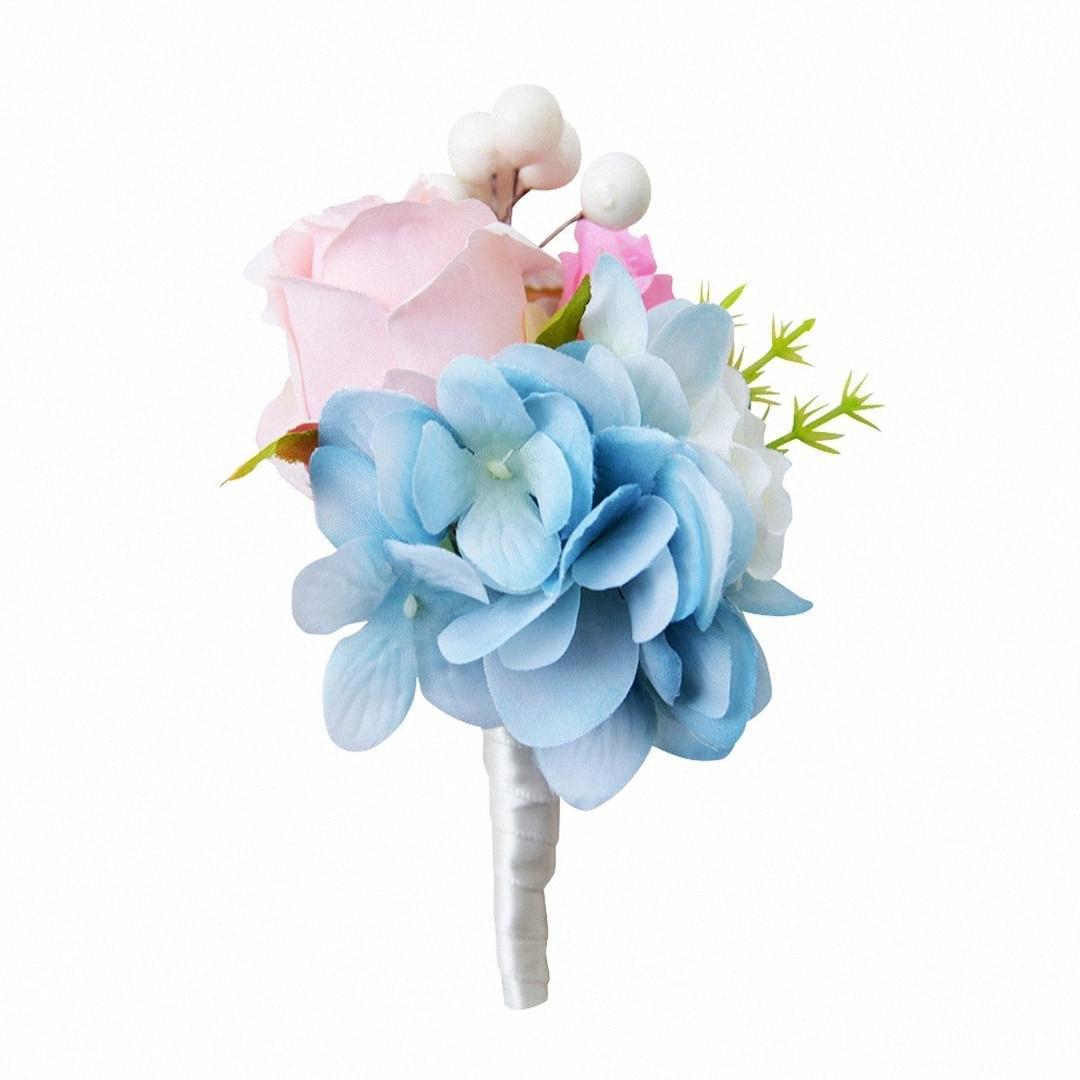 6 * 12 Cm Невеста корсаж Свадебные Groom Кристалл Бутоньерка корсаж Роза Шелковый цветок Ivory / фиолетовый / желтый / синий AFW7 #