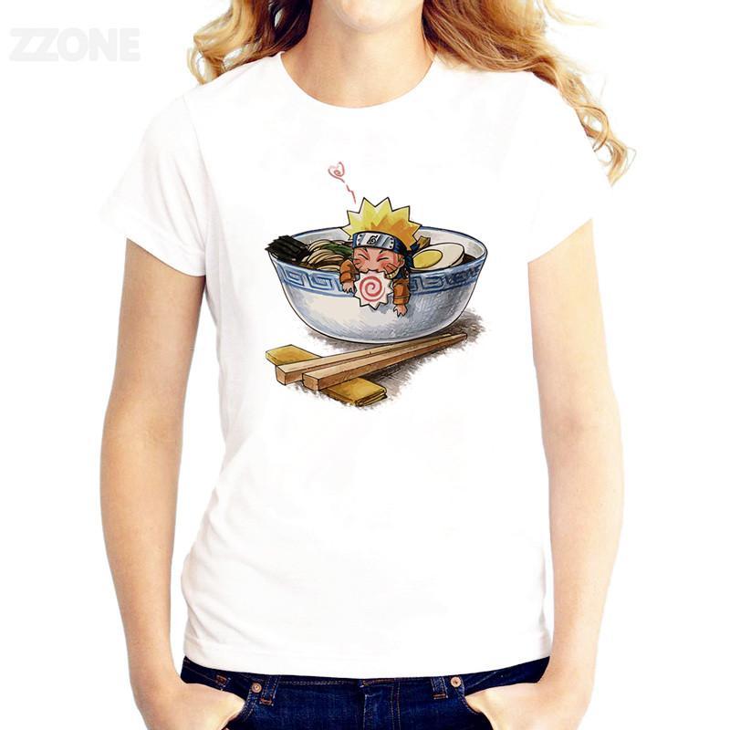 Naruto Embebido em uma T-shirt Anime tigela Mulheres Impresso bom camisetas Qualidade manga curta T-shirt O pescoço Moda T-shirt