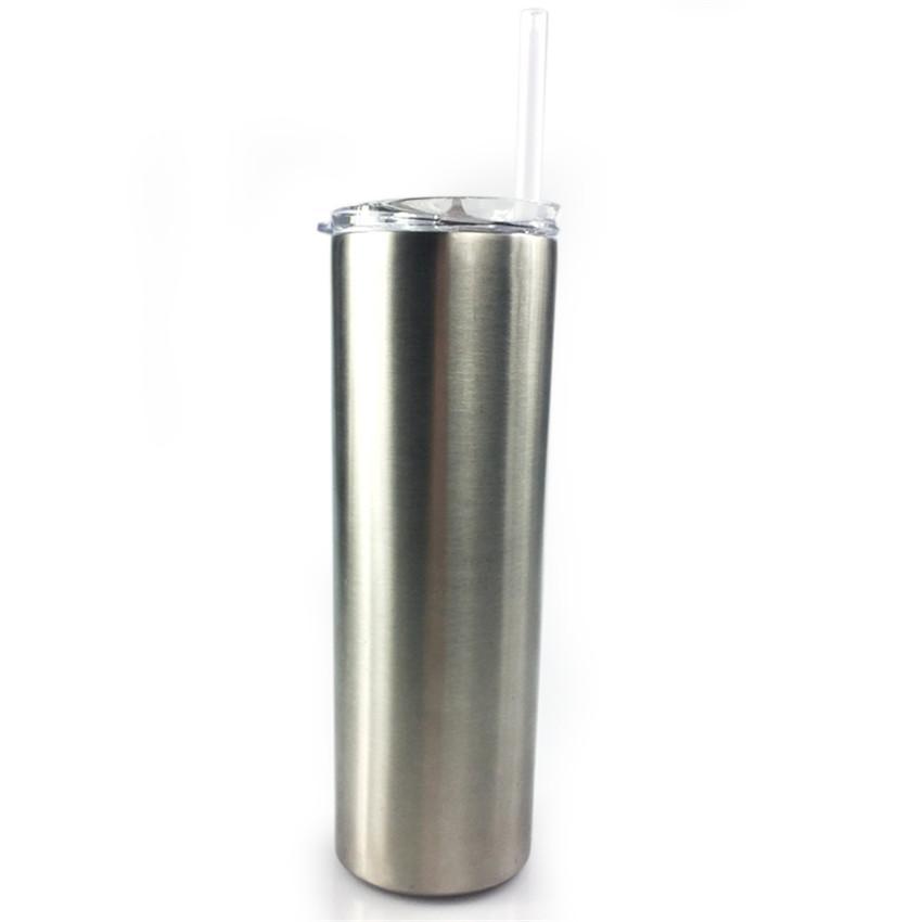 Bottiglia 20 once Skinny bicchieri d'argento di colore acciaio inossidabile Cup doppio isolamento Acqua Slim boccetta di vuoto tazze di caffè con Straw A11