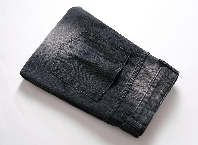 Moda Uomo Strappato motociclista in pelle Jeans Patchwork Slim Fit Nero Moto Denim Joggers: Uomo Distressed Jeans Pants2020.7.20.32..38