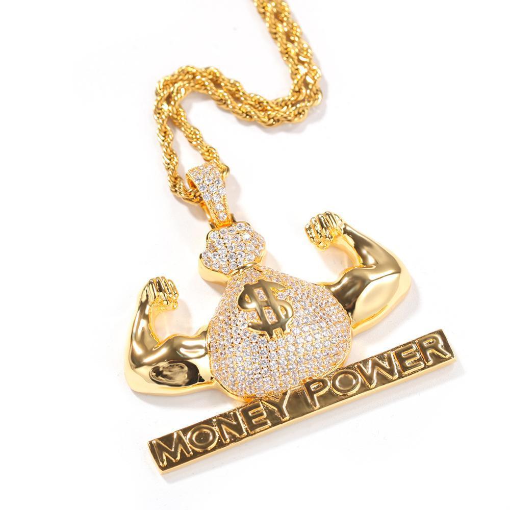 Hip Hop Purse argent pwoer Colliers Pendentif pleine CZ Couleur Pierre Or Argent Hommes Femmes Personnalité Creative rock cadeau bijoux