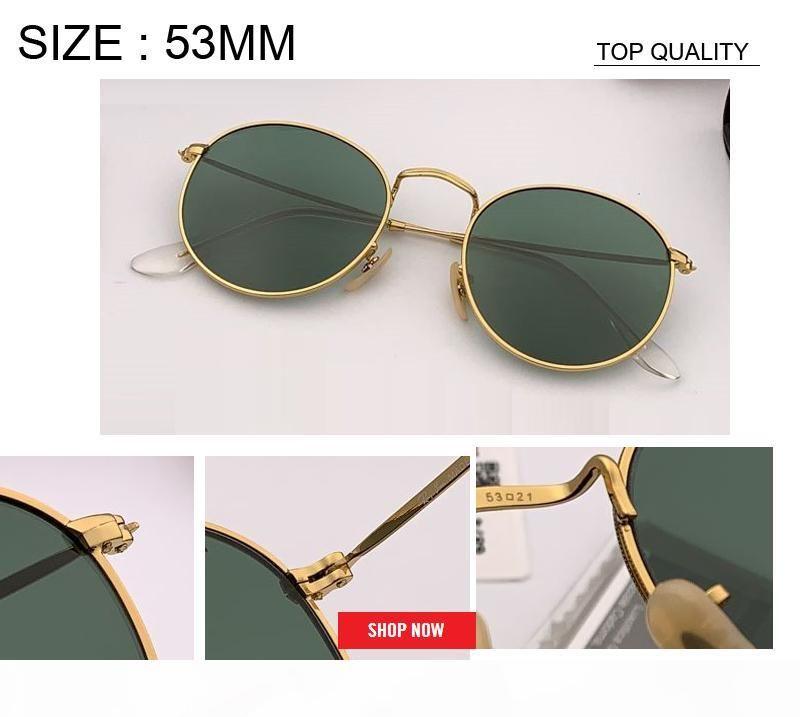 new wholesale Vintage round Sunglasses Women Brand Designer circle Sun glasses For Female Ladies man uv400 oversized 53mm uv400 rd3447 gafas