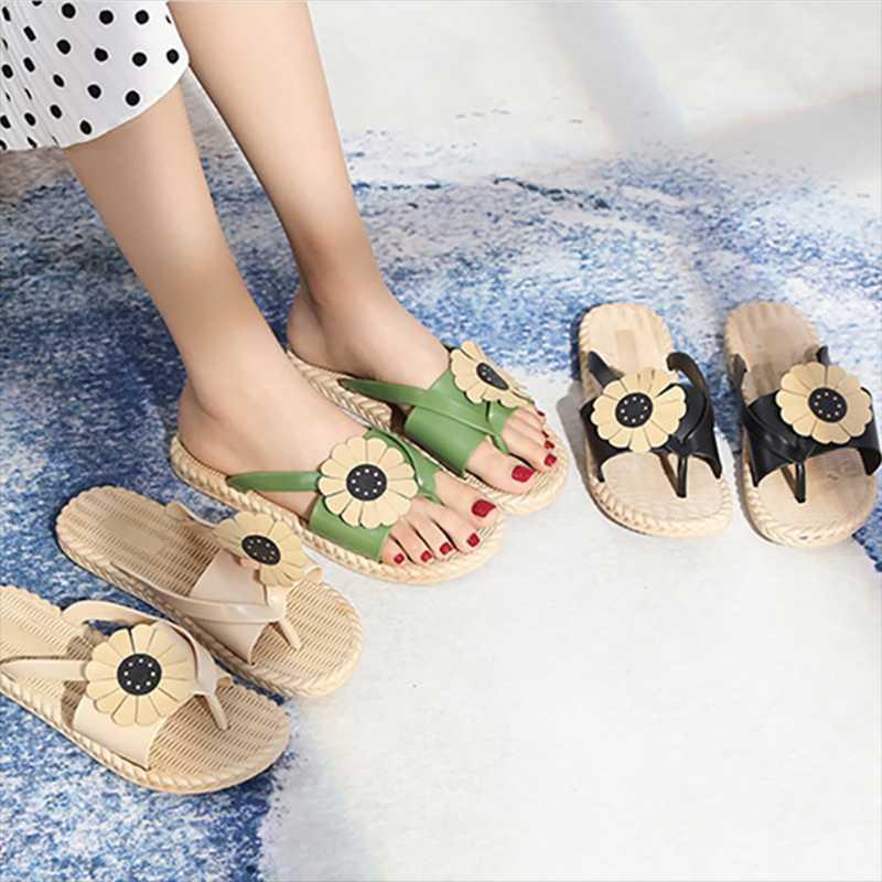 شاطئ النعال عباد الشمس منصة الصنادل المرأة عادية فليب يتخبط شقة أحذية الصيف
