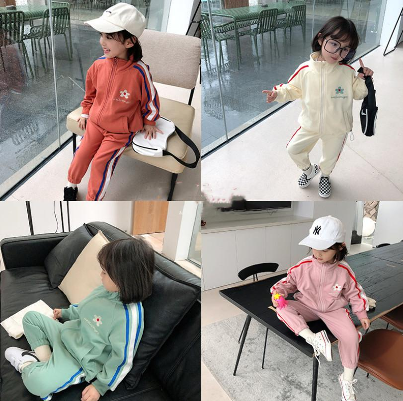 Fall New Children Sport Outfits Boys Girls Daisy Embroidered Zipper Long Sleeve Jacket+Stripe Pants 2Pcs Kids Casual sets A3752