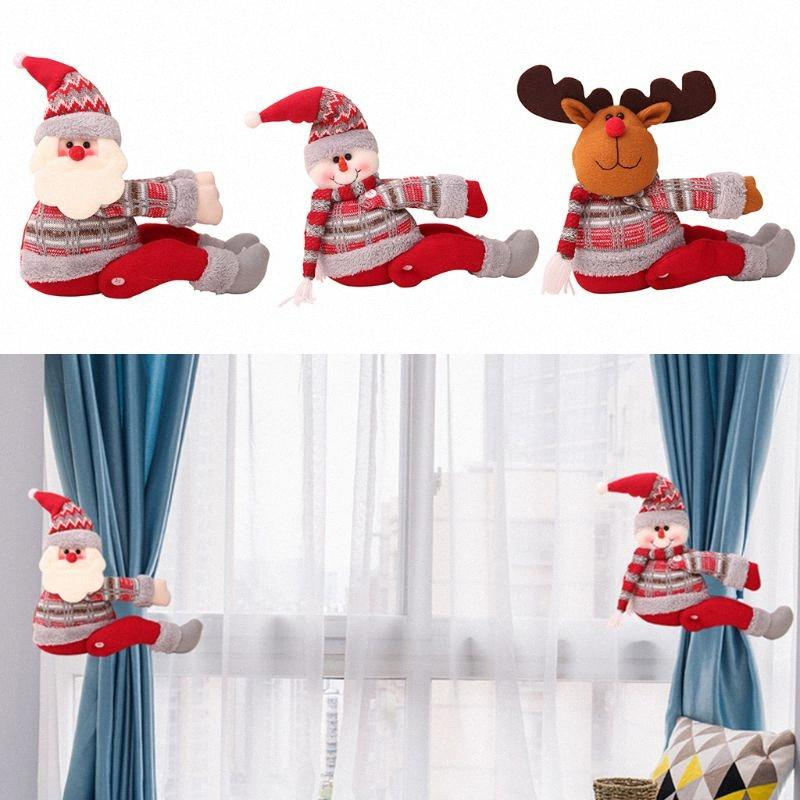 Рождество зима занавес Tieback пряжка Держатель Клип Симпатичные Мультфильм Санта-Клаус оленей Снеговик Doll Главная Xmas украшение партии c4x5 #