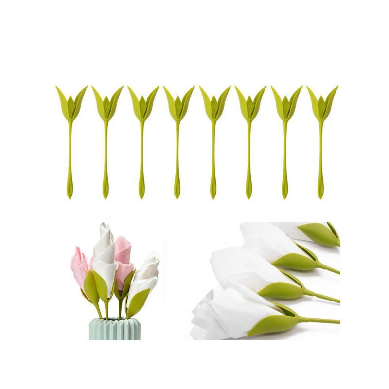 الإبداعية البلاستيك بلوم حاملي منديل الجدول الأخضر تويست زهرة براعم حاملي serviette