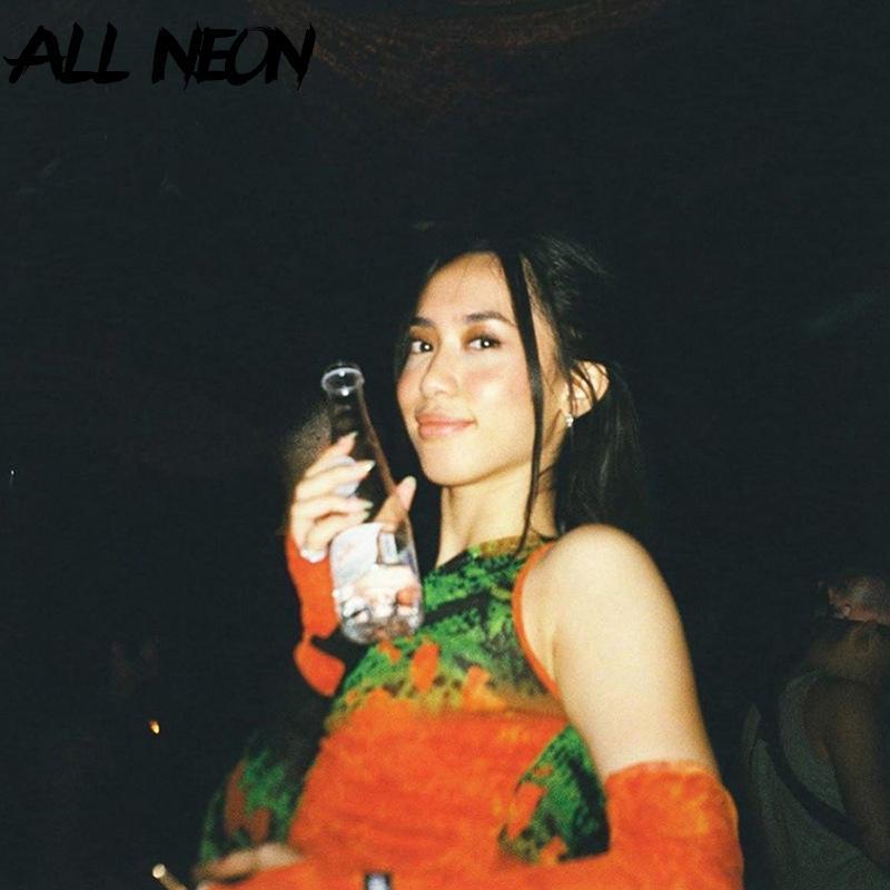 ALLNeon Punk Open плеча Прозрачный Crop Tops граффити Graphic V-образным вырезом с длинным рукавом с перчатками Ruched Front Mesh футболки Y2K MX200721