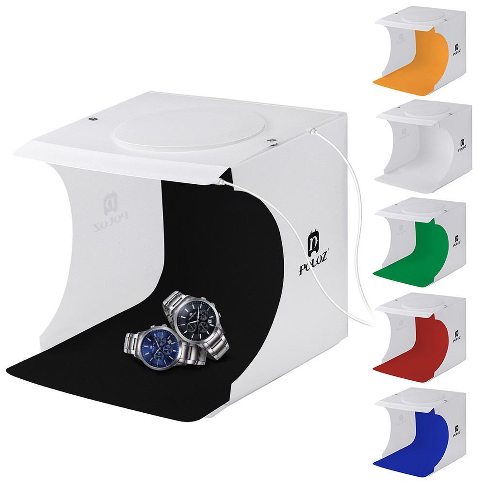 Mini Light Box Doppel-LED-Licht-Raum Fotostudio Fotografie Beleuchtung Schießen Tent Hintergrund Cube Box Photo Studio Dropship