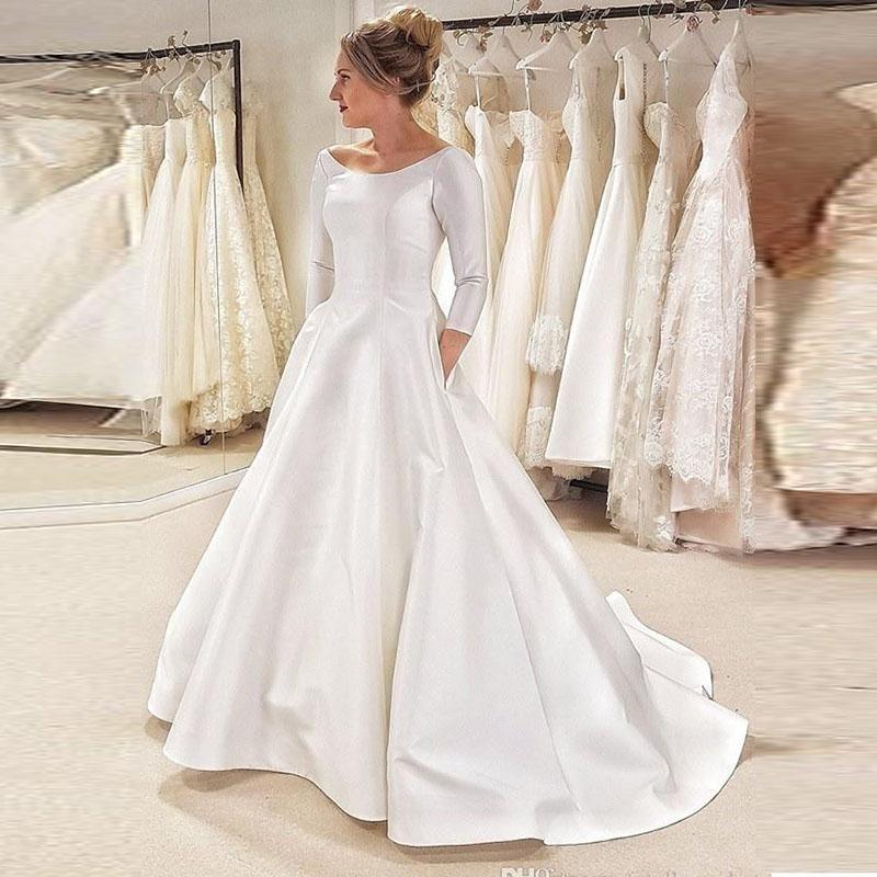 Пользовательские 3/4 с длинными рукавами свадебные платья 2021 с развертывающимисями поезда, свадебные свадьбы с свадьбой свадьбы Vestidos de Novia