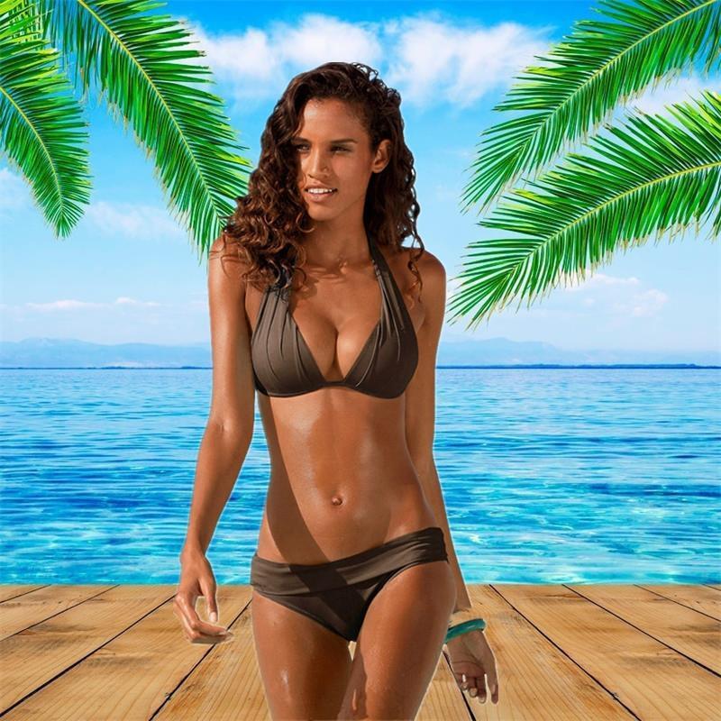Kadınlar için 2020 yeni bağcıklı boyun mayo bikini Backless düz renk yüksek bel büyük boy bölünmüş seksi bikini mayo